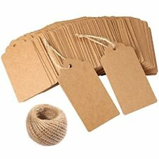 Gift Tags, 120 Pcs Kraft Paper Tags Wedding Brown Rectangle Craft Hang Free 100