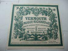 étiquette ancienne vermouth NUGUE-RICHARD BEZIERS