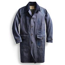 $995 RRL Ralph Lauren Japanese Indigo Raw Denim Raincoat Jacket Men's L Large