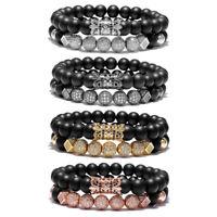 8mm Charm Beads Bracelet for Men Women Black Matte Onyx Natural Stone Beads