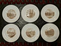 12 Wedgwood Old London Views 1941 First Edition Brown White Plates