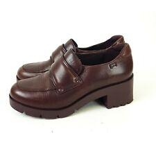 Camper Ladies Burgundy Red Platform Heel Loafer Shoes UK 4 EUR 37