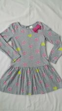 Euc Gymboree Girls Grey with Pink & Yellow Hearts Dress Size 7