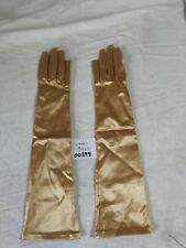Neyret of France Sz 6.5 Ladies Elbow Length Bronze Stretch Nylon Evening Gloves