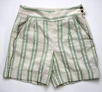 FACONNABLE Beige Tan Green Striped Linen Blend Bermuda Shorts Size 4  36 EUC