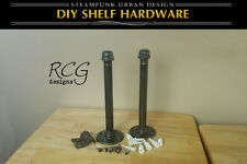 "DIY 9"" Pair Floating Pipes (8"" shelf) steampunk urban industrial decor"