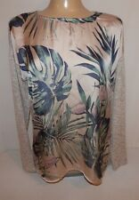 BOBEAU WOMENS SIZE M FLORAL PULL OVER SWEATER TAN KNIT TOP