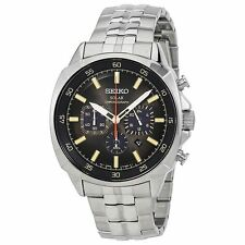Seiko Solar Recraft Black Dial Chronograph Stainless Steel Mens Watch SSC511 #9