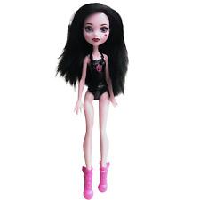 "Mattel 2015 MONSTER HIGH DRACULAURA Doll 11"" Pink Skin Black Hair EUC w/ Shoes"