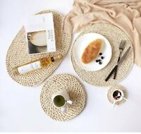 4/6/8PCS Hand-Woven Corn Straw Braided Dining Table Mats Thick Natural placemats