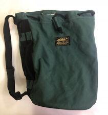 Eddie Bauer Rare Vintage Green Canvas Duffle Bag with Shoulder Strap Drawstring