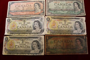 ''LOT'' OF 6-CANADA CURRENCY NOTES, 1934, 1954, 1967 AND 1973, CIRC NOTES CANADA