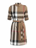 BURBERRY KELSY TAUPE BROWN CHECK COTTON BELTED DRESS US 4 / UK 6 / EU 38 $600