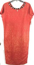 Vintage Molato Red Gold Silk Maxi Dress Medium Embellished Neckline Short Sleeve