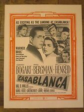 Casablanca   - Original  Movie Poster - Bergman - Humphrey Bogart