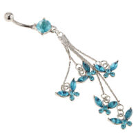 Blue Crystal Tassels Butterflies Belly Button Rings Navel Piercing Jewelry
