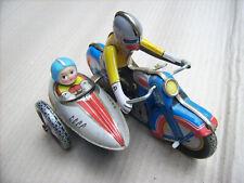 Motorrad + Beiwagen Federwerk von QSH 605 Blechspielzeug Spielzeug Vintage Krad