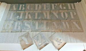 Antiguo Letra 80MM Estarcido Zinc Alfabeto Completo Más Le Señal