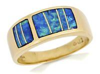1970's Navajo T.D Unworn Old Natural Australian Black Inlaid Opal Ring 14k Gold