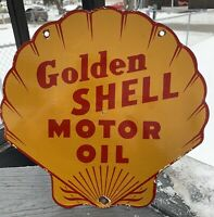 VINTAGE GOLDEN SHELL GASOLINE PORCELAIN GAS MOTOR OIL SERVICE PUMP PLATE SIGN AD