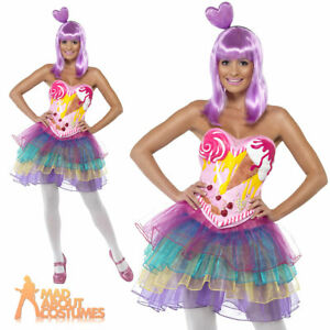 Candy Queen Katy Perry Fancy Dress Costume Pop Star Ladies Womens Outfit 8-14