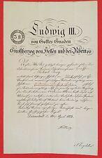 Bestallungsurkunde LUDWIG III. VON HESSEN, Großherzog Hessen-Darmstadt, 1872
