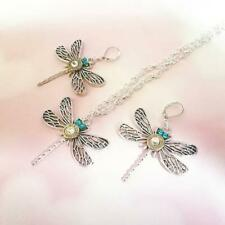 Dragonfly Bullet Pendant and Earring Set