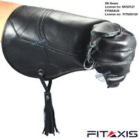"""FITAXIS Falconry and Eagle Nubuck Leather Shiny Black Gloves 16"""" Long Branded"""