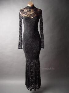 High Neck Victorian Gothic Ball Mermaid Gown 236 mv Black Lace Dress 1XL 2XL 3XL