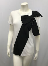 RED VALENTINO TOP BLACK AND WHITE HUGE BOW SIZE M