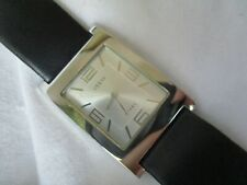 Guess Steel Rectangular Dial Watch with Leather Buckle Band WORKING!