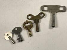 Lot (x6) unknown vintage clock keys germany brass # 5