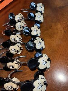 Set of 12 Disney MICKEY MOUSE Shower Curtain Hooks Hangers Rings Glossy Resin