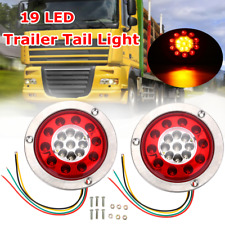 2X Round 4.3'' 19 LED Truck Trailer Lorry Brake Stop Turn Tail Light Chrome