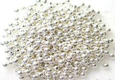 100 Silver Plated Round Smooth Metal Beads 3MM