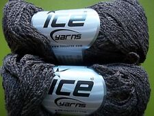 Ice Yarns Summer accent yarn, cotton blend, brown, lot of 2 (220 yds ea)