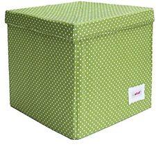 Minene 1553 - Scatola portaoggetti a forma di Cubo colore Verde con Pois bianchi
