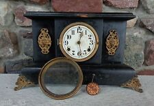 Antique Wood Black Mantel Clock No Key for Parts Restoration Repurpose