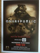 ONE REPUBLIC-NATIVE WORLD TOUR LONDON 02 ARENA PROMO FLYER X 1