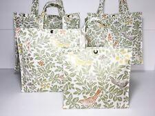 Handmade Oilcloth 100% Cotton Bags,Nikki's Original Totes, Songbirds Sage, Matt