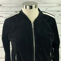 Juicy Couture Black Label Velour Black White Bomber Track jacket Size Small