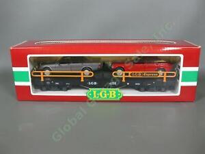 NEW w/Box LGB G Scale 4059 Flatbed Train Mercedes Benz Auto Carrier Flat Car Set