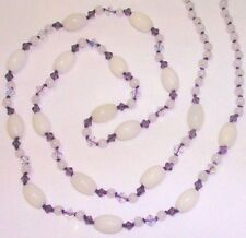 "31"" HAND KNOTTED SNOW QUARTZ WHITE JADE PURPLE CRYSTAL BEAD NECKLACE EARRING SET"