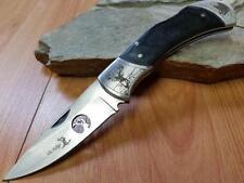 """Elk Ridge Folding Pocket Knife Deer Forest Art Black Wood EDC 8"""" Hunter 539dr"""