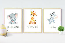 3 Baby Jungle Safari Animal Prints Nursery Gift Room Wall Art Decor Pictures
