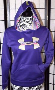 UNDER ARMOUR Youth Large YLG Loose Purple Hoodie Large Logo Front Pouch Pocket