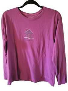 Life Is Good Women's Size Large Full House Purple Graphic Long Sleeve Shirt