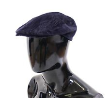 NWT $280 DOLCE & GABBANA Blue Cotton Logo Newsboy Cap Hat Cabbie s. 59 / L