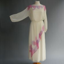 VTG 70s Disco Dress Sheer Tie Dye Chiffon Etherial Hippie Festival Fairy Wispy M