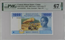 Central African State Congo 1000 Fr. 2002 P 107 T Superb Gem UNC PMG 67 EPQ Top